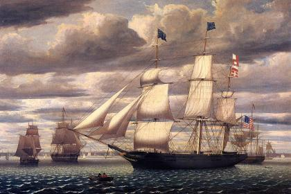 http://en.wikipedia.org/wiki/File:Clipper_Ship_Southern_Cross_Leaving_Boston_Harbor_1851.jpeg